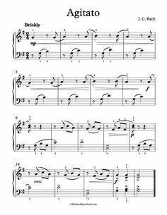 Free Piano Sheet Music - Agitato - J. C. Bach. Enjoy!