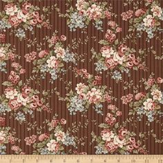 Penny Rose Penelope Bouquet Brown from @fabricdotcom  Designed by Erin Turner for Penny Rose Fabrics, this fabric is perfect for quilting, apparel and home decor accents. Colors include chocolate, blue, cream, and pink.