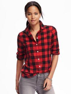 Classic flannel shirt for women, Red Buffalo, M