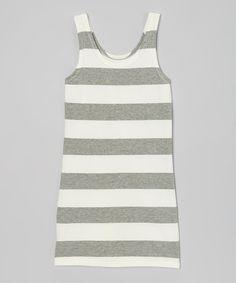 Look at this #zulilyfind! Gray & White Stripe Tank Dress - Girls by Pretty Cute #zulilyfinds