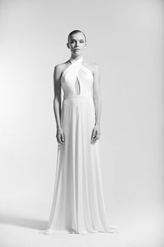 """The Dan Jones 2016 Bridal Collection """"Unbridaled By Dan Jones"""" continues to be inspired by the and music icons like Tina Turner and Diana Ross. Black And White Wedding Invitations, Modern Minimalist Wedding, Polka Dot Wedding, Bridal Gowns, Wedding Dresses, Beautiful Wedding Gowns, Dress Backs, Bridal Collection, Evening Gowns"""