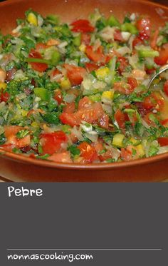Pebre   In Chile this all-purpose salsa is a big favourite, often served with pumpkin fritters and some good local wine. It's also an excellent accompaniment to barbecued meat and fish. Pebre includes a large quantity of onion, but the recipe calls for soaking the onion in sugar, then salt, which softens the raw flavour. (Instead of onion you could use a bunch of finely chopped chives.) Onion Recipes, Chili Recipes, Meat Recipes, Barbecued Fish Recipes, Barbecue Recipes, Pumpkin Dishes, Pumpkin Recipes, Home Recipes, Lunch Recipes