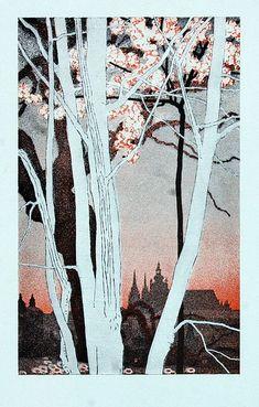 Vojtěch Preissig - Jaro v Praze / zincography, 15 x cm, Illustrations And Posters, Twitter, Moose Art, Art Gallery, Landscape, World, Artist, Prints, Photography