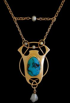 MURRLE BENNETT & Co. (1896-1914)   A gold necklace. The pendant set with a central turquoise plaque and seed pearls. The original chain punctuated with pearls.   Anglo/German c.1900. Marks for MB & Co. and 15 ct.  Size: Pendant length 4.5 (Fitted Case)  Lit.: Art Nouveau Jewelry. Vivienne Becker. Liberty Style. Academy Editions.