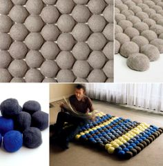 Modul_le, is a flexible carpet made of felted wool balls.