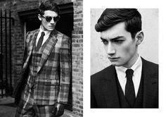 """Jordan Goodenough at Models 1 & Michael Knowles at FM in """"London Calling"""" by Dennis Weber for the Fall Winter 2013-2014 collection of Hardy Amies by creative director Claire Malcolm"""