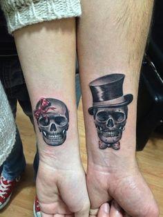 38 Best Matching Skull Tattoos Images Couple Tattoos Sugar Skull