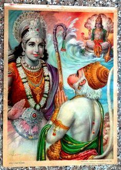 "India vintage 10"" x 14"" Hindu poster Ram Hanuman"