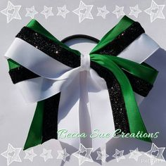 Green Black and White Big Cheer/softball by beccasuecreations