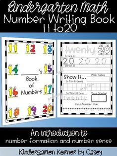 This Number Writing Book is great for math at the beginning of the year in kindergarten. Students are introduced to tracing and printing numbers 11 to 20. They learn one-to-one correspondence as they learn to represent numbers using ten frames, tally marks, dominoes, and number lines.