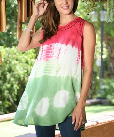 Another great find on #zulily! Ananda's Collection Pink Tie-Dye Sleeveless Tunic - Women by Ananda's Collection #zulilyfinds