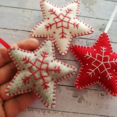 Star Christmas ornaments also in grey.