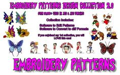 The Biggest Collection of Embroidery Machine Patterns Designs on the web. Over 92,000 patterns. Every topic imaginable covered.