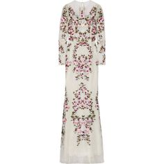 Zuhair Murad Embroidered silk-blend lace gown (18.560 BRL) via Polyvore featuring dresses, gowns, white, lace evening dresses, white lace evening gown, white dress, white ball gowns e white lace dress