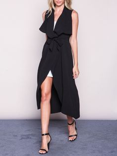 Shop Black Sleeveless Asymmetric Trench Coat online. SheIn offers Black Sleeveless Asymmetric Trench Coat & more to fit your fashionable needs.