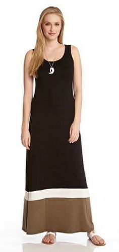 BLACK AND KHAKI GREEN CONTRAST MAXI TANK DRESS Cool color blocking gives this Karen Kane maxi dress a jolt of summertime style. Make a statement with its scoop neck and accessorize with a bold necklace. #Karen_Kane #Black_and_Khaki_Green  #Maxi_Dress #Summer #Fashion