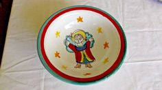 "DeSimone for Vietri Art Pottery Bowl, Angel & Stars, 8 3/8"", Italy, Multi Color"