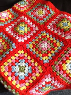 Crochet blanket by maryanne Modern Crochet Blanket, Crochet Granny Square Afghan, Crochet Squares, Crochet Blanket Patterns, Crochet Stitches, Crochet Blankets, Granny Squares, Crochet Afgans, Crochet Quilt