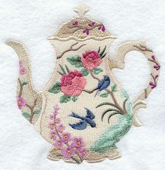 teapot quilts | BLOOMING BEAUTY TEAPOT- Machine Embroidery Quilt Blocks (Azeb)