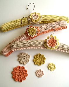 crocheted hangers liking the embellishment idea
