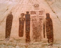 Picture of Holy Ghost Petroglyph at the Great Gallery in Horseshoe Canyon, Canyonlands National Park, UT. stock photo, images and stock photography. Colorado Plateau, Canyonlands National Park, Holy Ghost, Native American Art, American History, Deities, Rock Art, Painted Rocks, Places To See