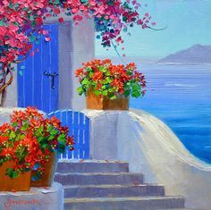 (usa) Santorini of Greece by Mikki Senkarik ). Simple Acrylic Paintings, Acrylic Art, Greece Painting, Beginner Painting, Santorini Honeymoon, Art Abstrait, Pictures To Paint, Beautiful Paintings, Watercolor Art