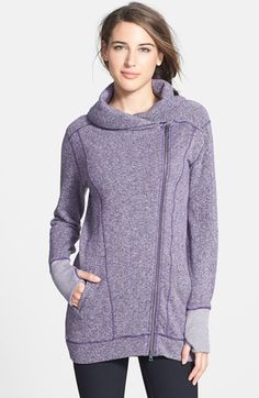 Free shipping and returns on Zella 'Collar Crush' French Terry Front Zip Jacket at Nordstrom.com. Fashion meets function on an incredibly cozy and extra-long French terry sweatshirt topped by a draped shawl-like collar and closed with an asymmetrical two-way zipper.