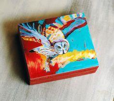 Gray Owl Wood Block Print - Original Gray Owl Art Block Print - by Corina St. Martin