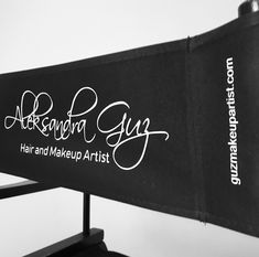 personalized makeup chair cost plus folding chairs the fabric artists thefabricartists on pinterest black back rest canvas for with beautiful scriptina font made by