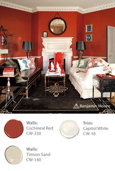 Energize your living room with vibrant, timeless paint colors such as Benjamin Moore 'Cochineal Red CW-330' from the WILLIAMSBURG Collection.