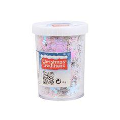 Hobby sneeuwvlokken confetti  Deze confetti sneeuwvlokken in de kleur wit/roze parelmoer zit verpakt in een kokertje per 45 gram. Afmeting confetti: ca. 15 cm.  EUR 4.99  Meer informatie