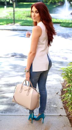 Jaclyn Hill. Pop of color in the shoes