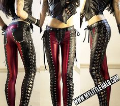 Lace up Red & Black Metal Pants - My Little Halo http://mylittlehalo.com/metal-clothing-collection