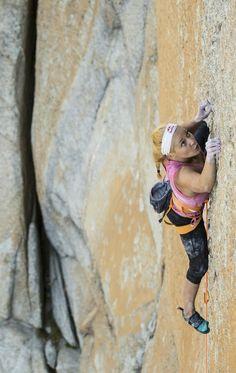 Sasha DiGiulian climbing in Yosemite Park.