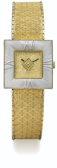 BUCCELLATI A LADY'S YELLOW GOLD SQUARE BRACELET WATCH CASE 2022 AGALMACHRON CIRCA 2008 • quartz movement • gilt dial finely engraved • 18k yellow gold square case, silvered engraved bezel with raised Roman numerals • 18k yellow gold integrated patterned bracelet with twin folding clasp.