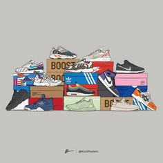 "KickPosters by Dan Freebairn on Instagram: ""Who wants a poster of this? Comment below...💬👇🏻 — ‼️BLACK FRIDAY EXCLUSIVE‼️ This 2018 Sneaker Stack poster will only be available for 4 days!…"""