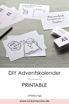 DIY Freebie - Advent calendar back pages for self-printing. Here are 12 suggestions and ideas for your personal messages. More printables are available www.lucky-me-caro. Diy Christmas Gifts, Simple Christmas, Christmas Time, Birthday Gifts For Kids, Diy Birthday, Winter Girl, Advent Calenders, Holiday Break, Diy And Crafts