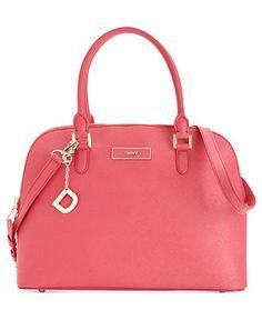 DKNY Handbag, Saffiano Leather Round Satchel - ...   elfsacks