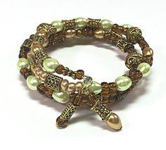 Коричневый провод памяти Браслет - Подарки для нее - зеленый и коричневый Wrap браслет - зеленый браслет обруча - Идеи подарков - Bohemian ювелирные изделия TDC058