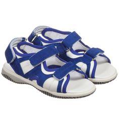 e01af090392a09 Hogan Shoes Boys Bright Blue   White Suede Sandals at Childrensalon.com  Baby Girl Shoes