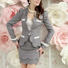 Online Shop casacos femininos women office suits blazer with skirts ladies elegant business clothing sets plus size freeshipping Business Outfits, Business Attire, Business Fashion, Suit Fashion, Work Fashion, Fashion Outfits, Fashion Trends, Fashion 2014, Suits For Women