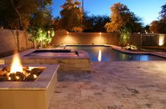 arizona swimming pool with firepit