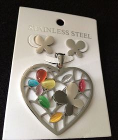 Lovely heart shaped with butterflies! Womans Stainless Steel Jewelry Set