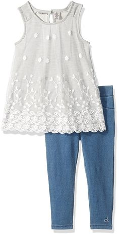 61b7f254450b Calvin Klein Little Girls' Toddler 2 Piece Tunic Pant Set-Lace, Gray,