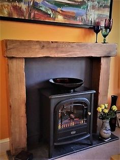 Solid Oak beam fire surround - range of colour finishes & fixings included Home Fireplace, Wooden Fireplace, Faux Fireplace Mantels, Faux Fireplace Diy, Wooden Fireplace Surround, Living Room With Fireplace, Wood Burner Fireplace, Fireplace Surrounds, Fire Surround