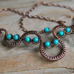 Artisan Copper Woven Wave Necklace with by NeroliHandmade