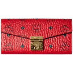 MCM Patricia Two Fold Wallet with Chain in Visetos (Ruby Red) ($330) ❤ liked on Polyvore featuring bags, wallets, card slot wallet, handbags totes, mcm tote, logo tote bags and mcm tote bag