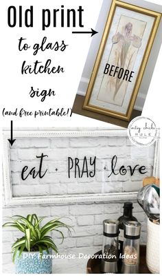 Eat Pray Love Sign (and FREE printable!) Make this EAT PRAY LOVE sign, simply! A cute addition to any kitchen! Perfect for gift giving or fun for your own kitchen decor. Eat Pray Love, Diy Décoration, Easy Diy, Diy Crafts, Tree Crafts, Simple Diy, Decor Crafts, Home Decor Signs, Diy Home Decor