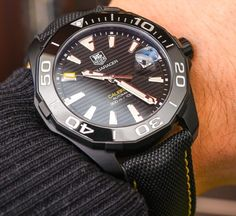 """TAG Heuer Aquaracer 300M Ceramic Bezel Watch Collection For 2015 Hands-On - by Zen Love - see the other models in the extensive photo gallery & read more on aBlogtoWatch.com """"TAG Heuer had a very full 2015. With flamboyant frontman Jean-Claude Biver, the Heuer 01 ('affordable Hublot'), Heuer 02 ('affordable tourbillon' at $15,000), a TAG Heuer smartwatch, and even a DJ watch... TAG Heuer's solid and established pieces also quietly continued to evolve. I admit that I am an Aquaracer fan..."""""""