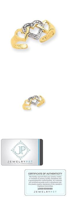 Toe Rings 140010: 14K Yellow Gold And Rhodium Plated Diamond Heart Toe Ring -> BUY IT NOW ONLY: $83.99 on eBay!